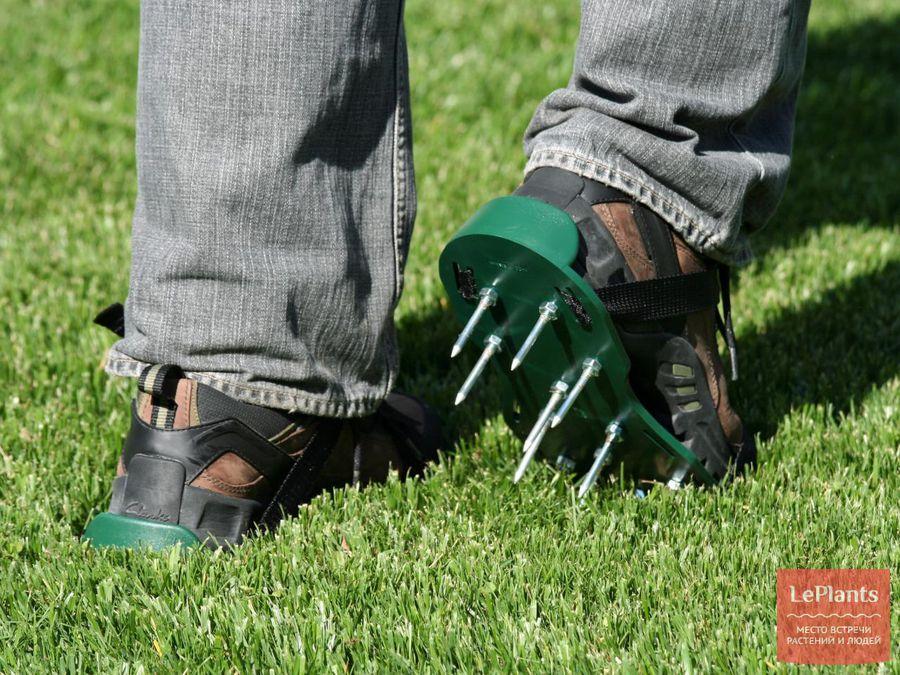 ботинки для аэрации газона
