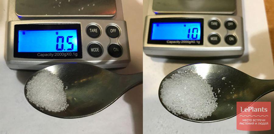 0,5 и 1 грамм сравнение в ложке